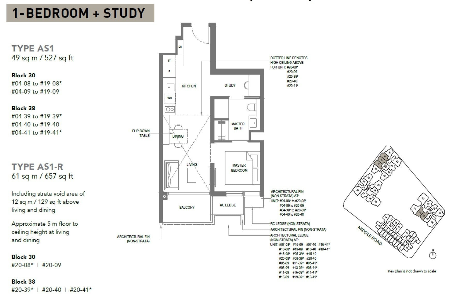 The-M-Floor Plan 1BR +S