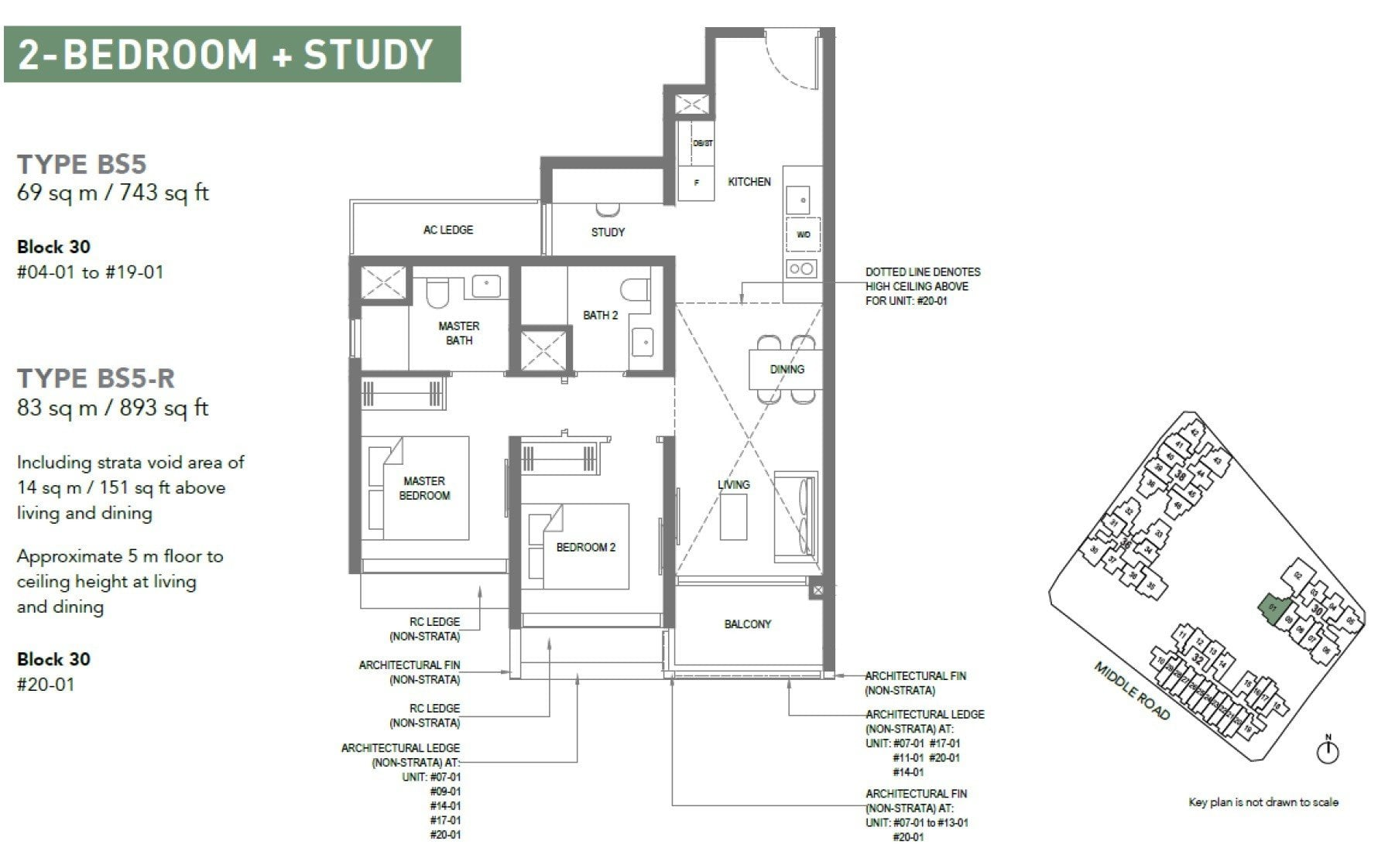 The-M-Floor Plan 2BR +S
