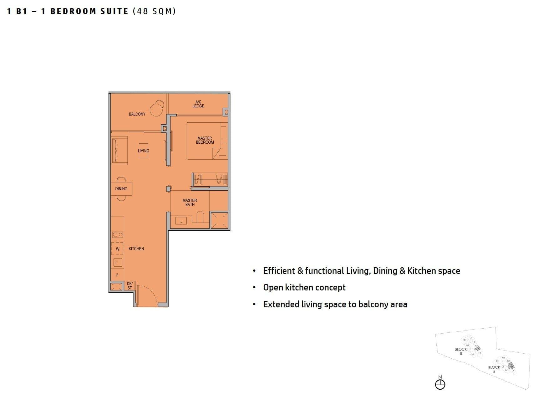 kopar-newton-floor plan 1BR 48sqm