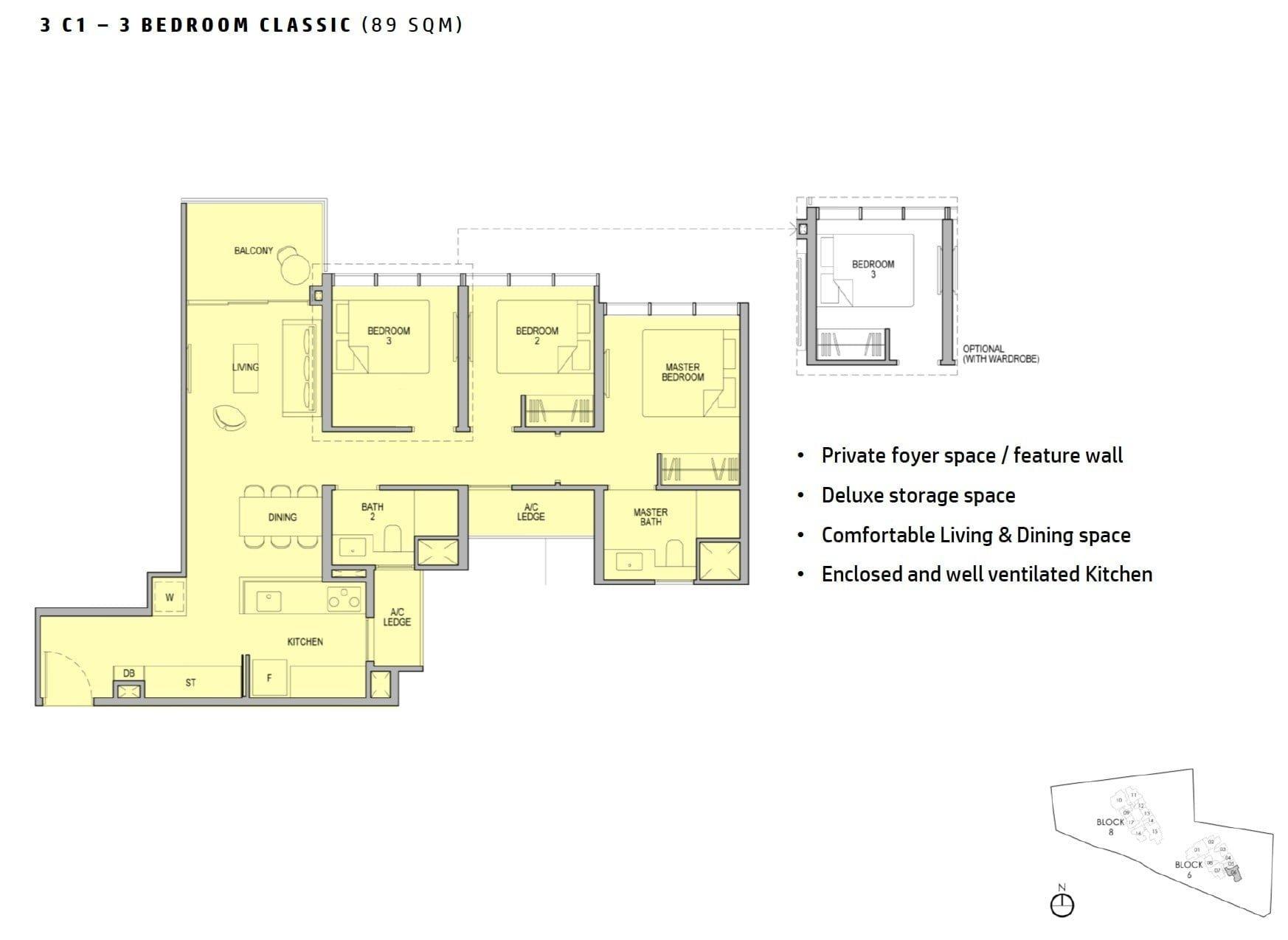 kopar-newton-floor plan 3BR Classic