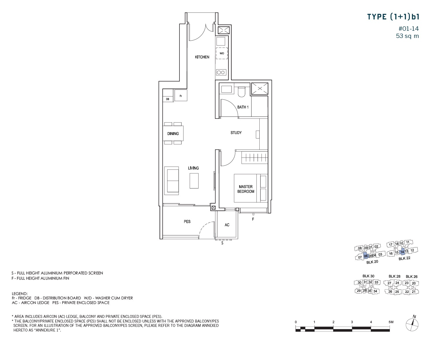 penrose-sims-floorplan 1BR+S