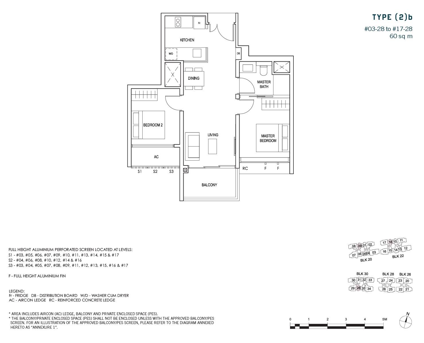 penrose-sims-floorplan 2BR 1Bath B