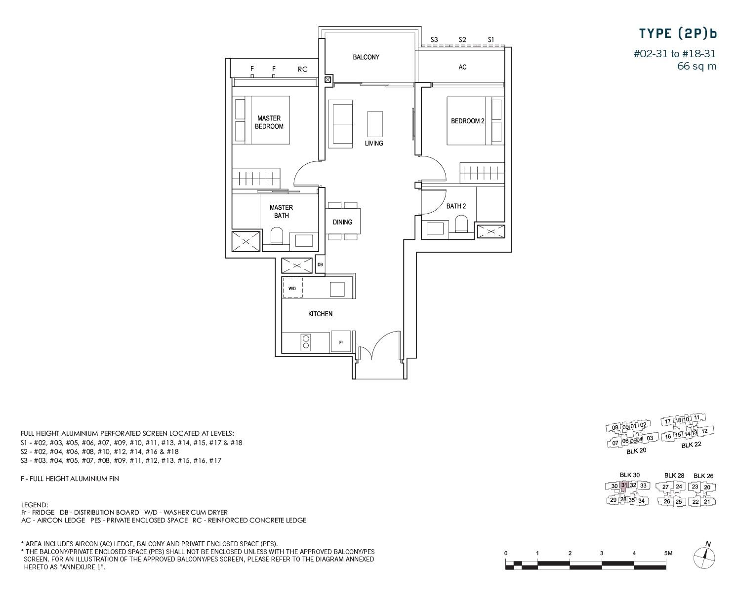 penrose-sims-floorplan 2BR 2Bath B
