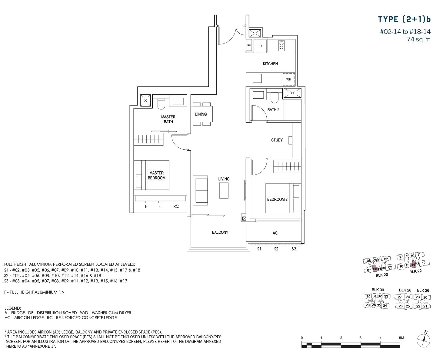 penrose-sims-floorplan 2BR +S