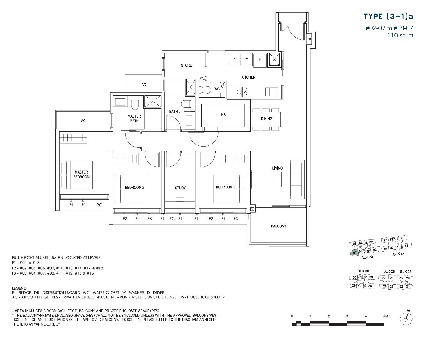 penrose-sims-floorplan 3BR+1