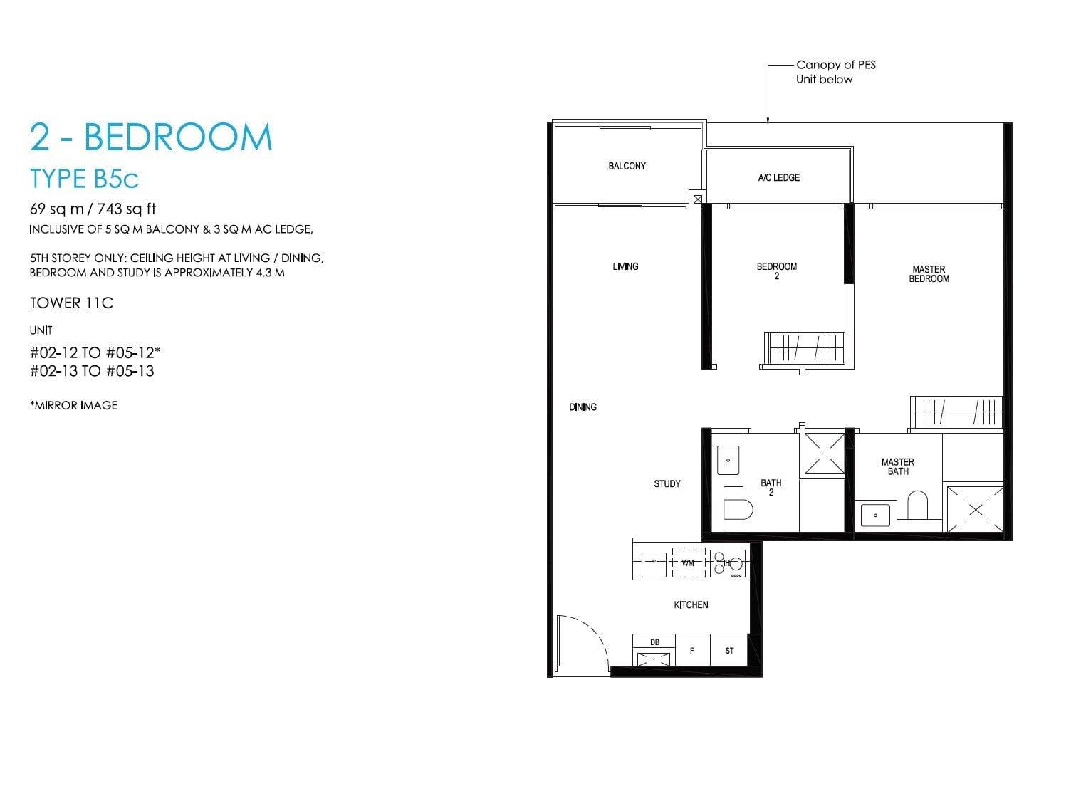 daintree-condo-floor plan 2BR 2Bath +S