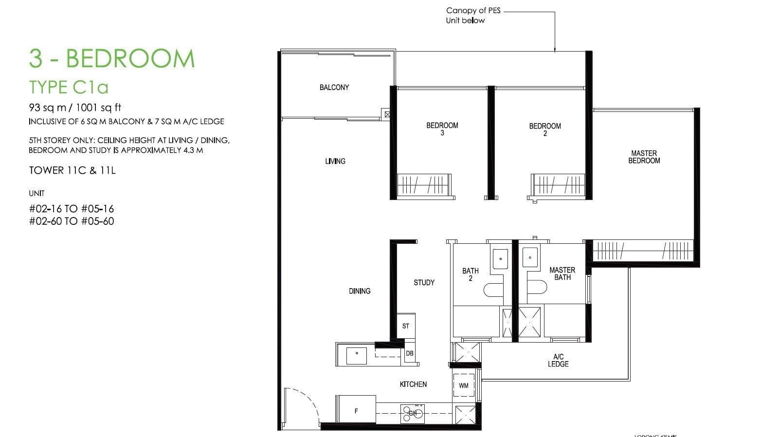 daintree-condo-floor plan 3BR