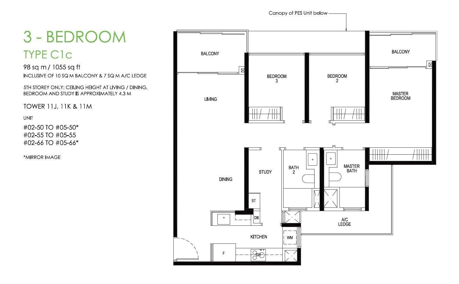 daintree-condo-floor plan 3BR +S