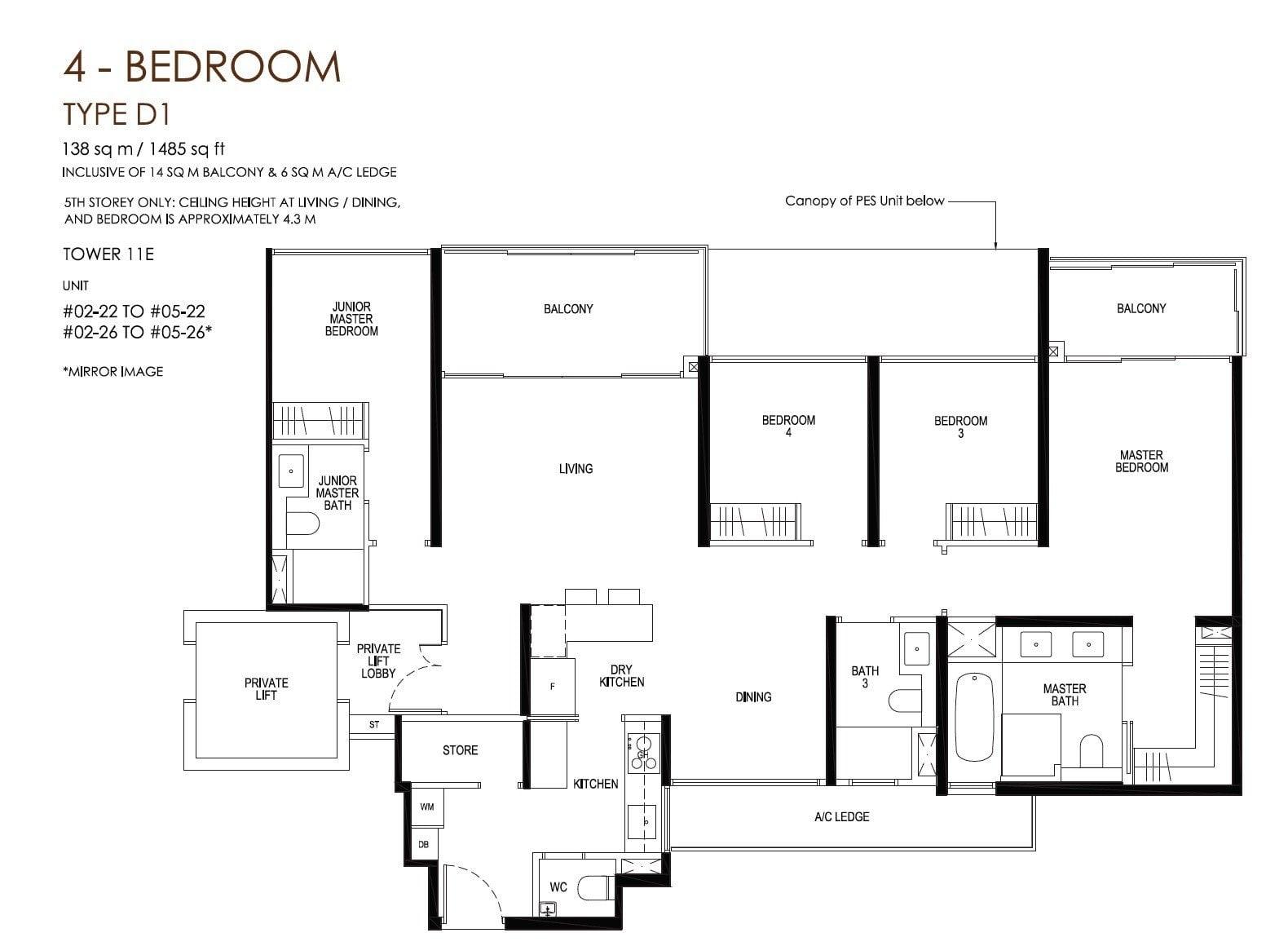 daintree-condo-floor plan 4BR