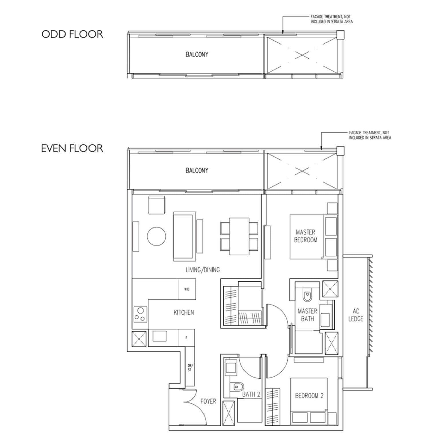 19 Nassim Condo floor plan 2BR2Bath type B1
