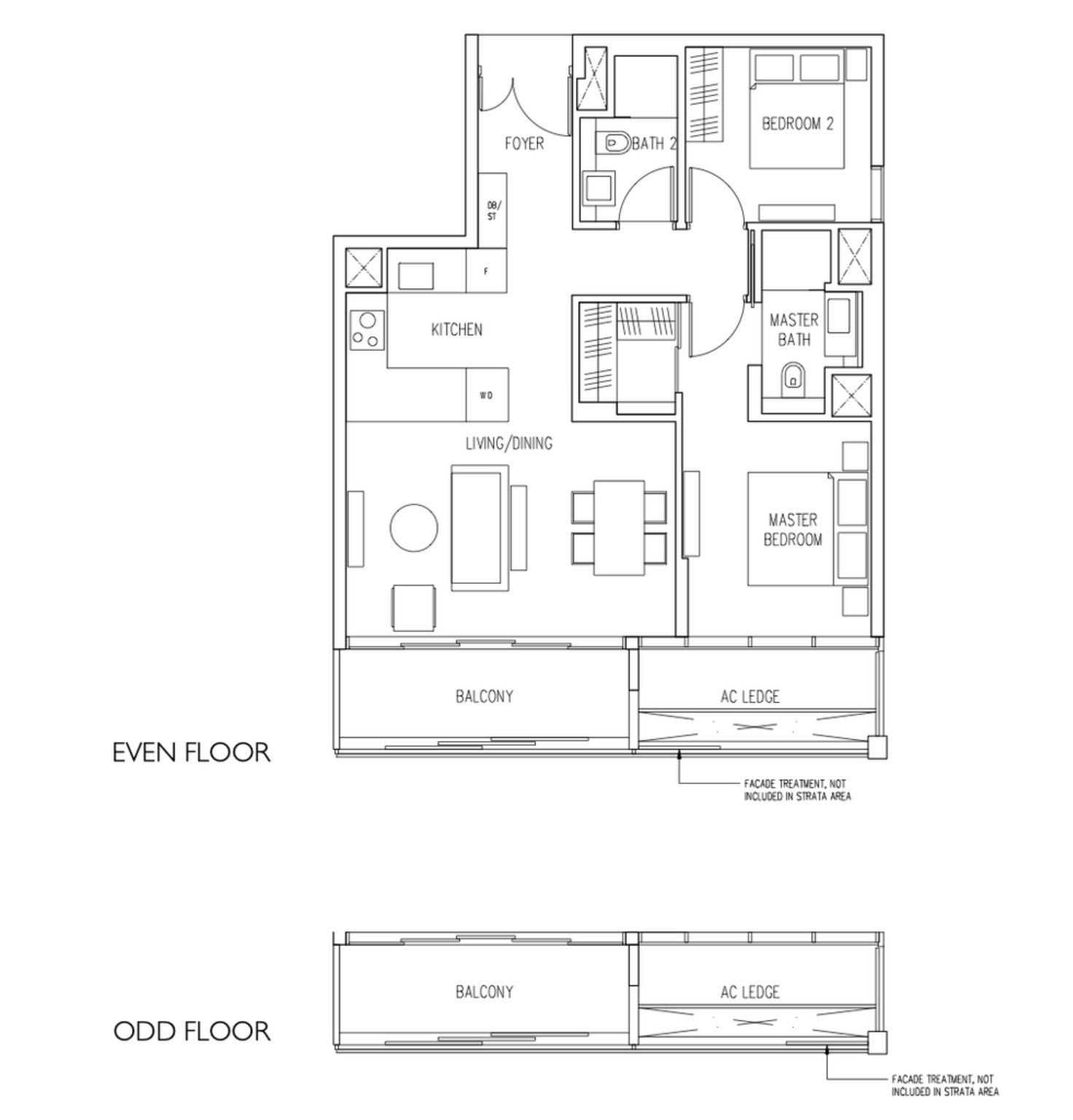 19 Nassim Condo floor plan 2BR2Bath type B3