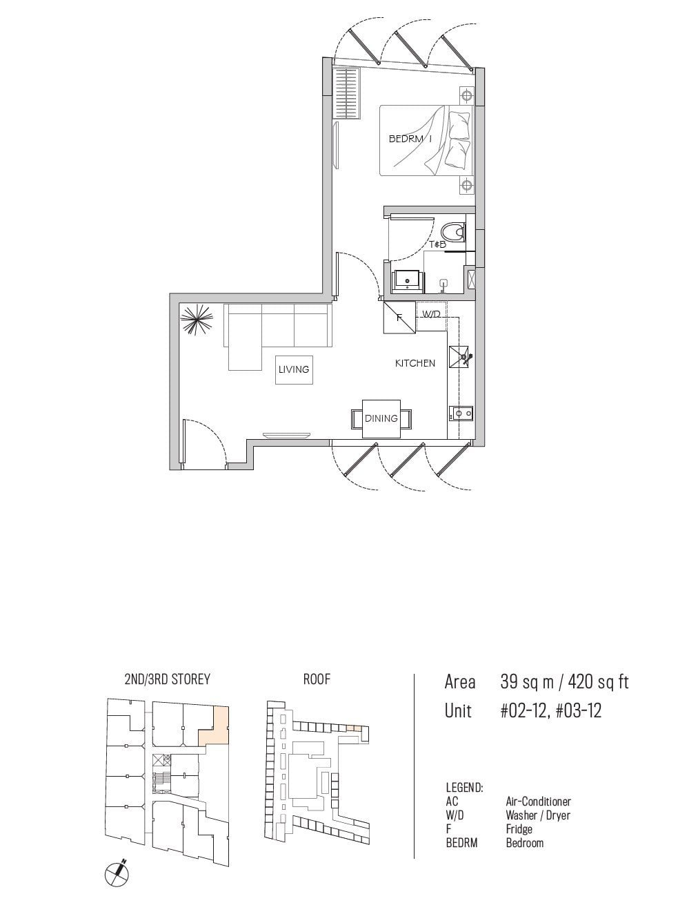 77 east coast floor plan 1BR type A1