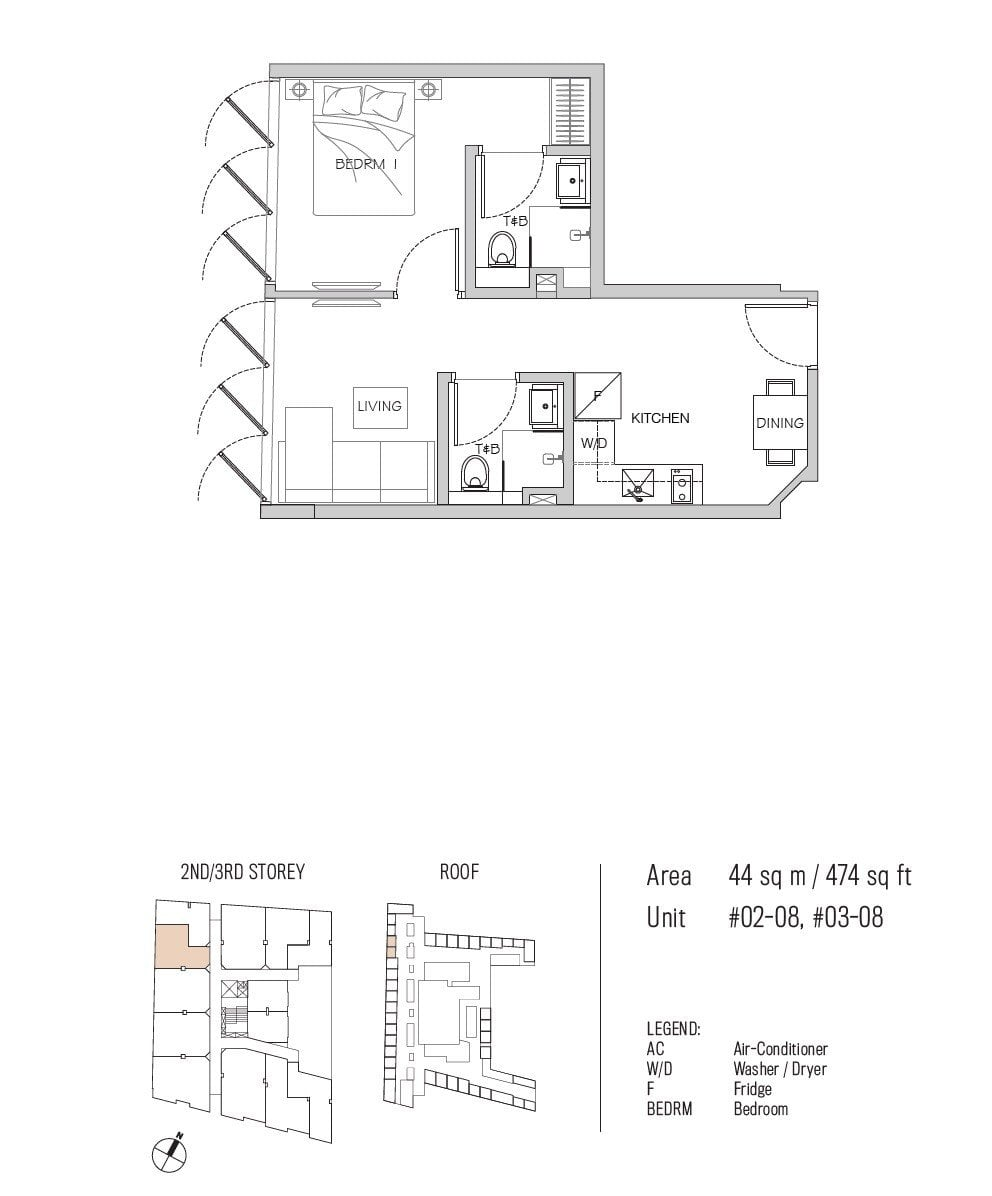 77 east coast floor plan 1BR type A3