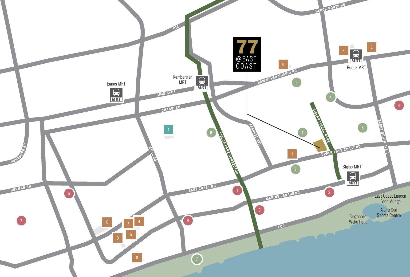 77 east coast location map