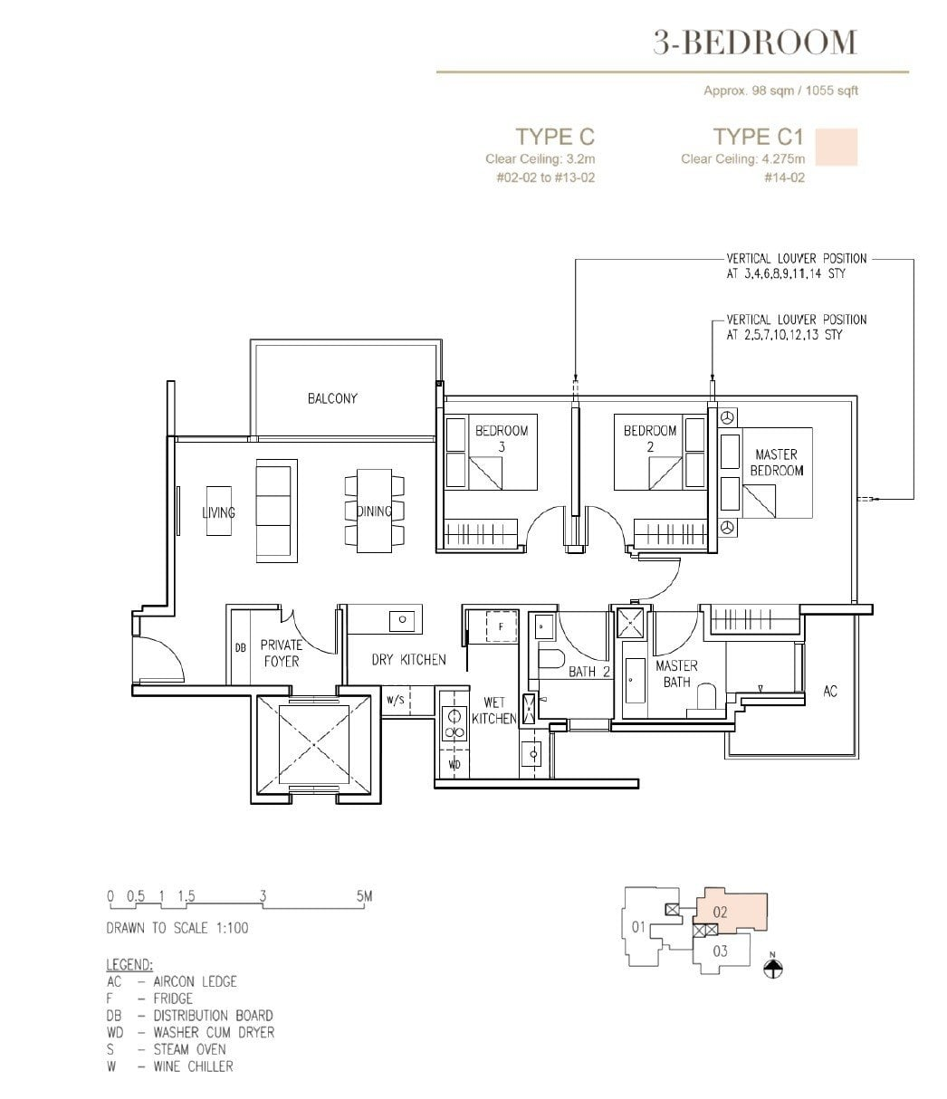 Cairnhill-16-Orchard Floor Plan 3BR Type C