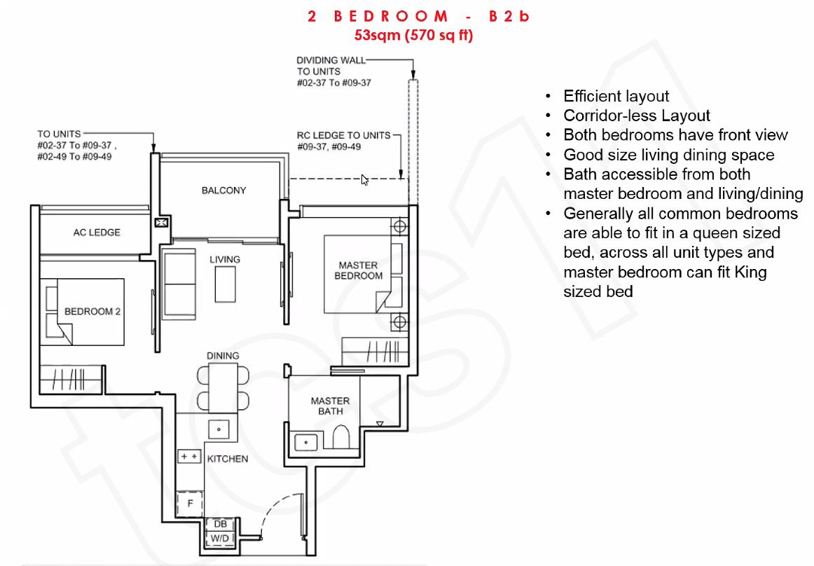 Forett Floor Plan 2 BEDROOM B2b