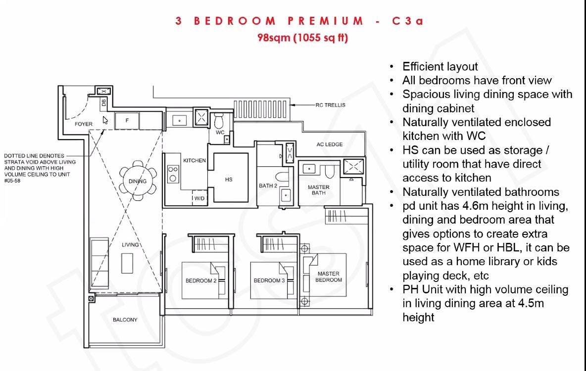 Forett Floor Plan 3BEDROOM PREMIUM - C3a