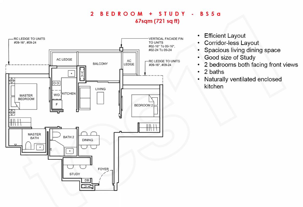 Forett Floorplan 2BR+S BS5a