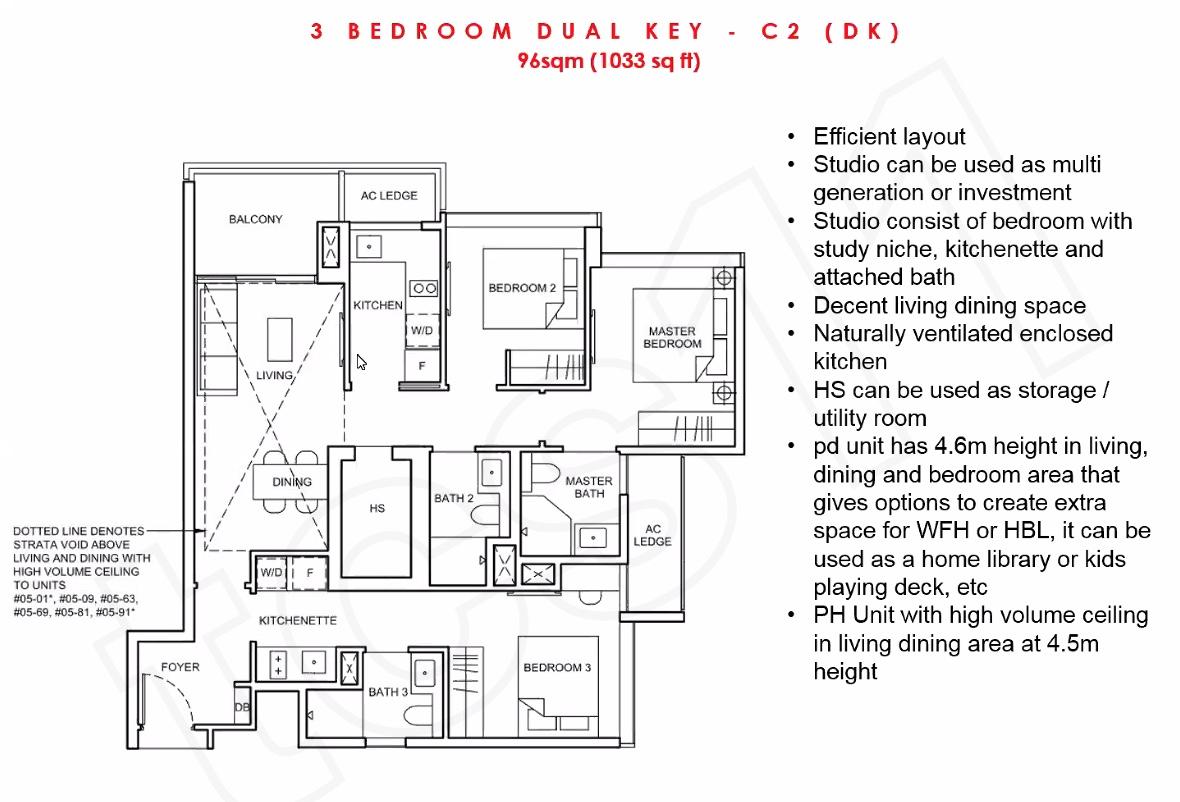 Forett Floorplan 3BR Dual Keys 96sqm (1033 sq ft)