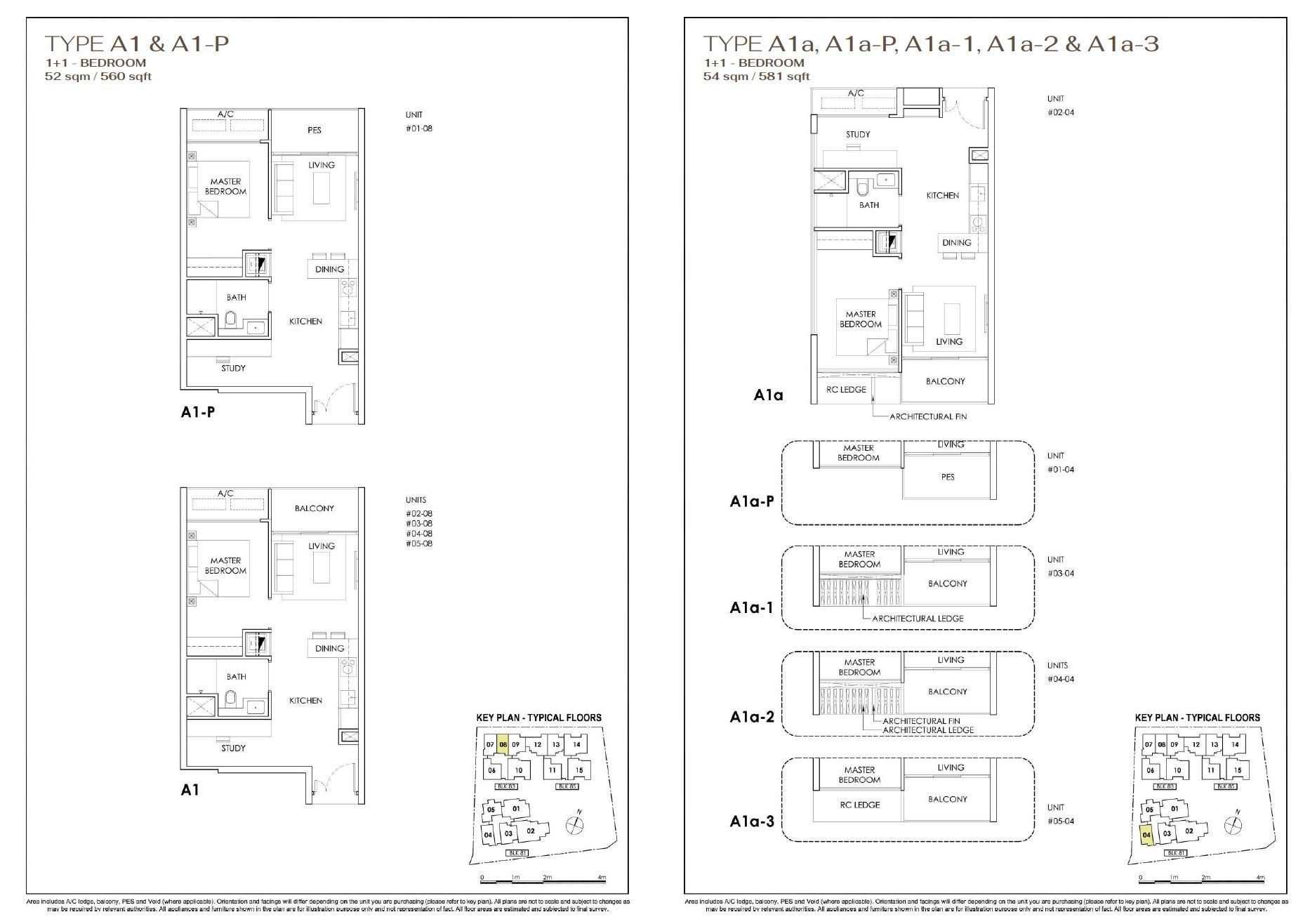 Phoenix Residences floor plan 1+1 Bedroom