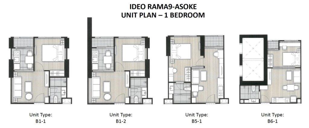 Ideo Rama 9 -Asoke Floor Plan 1BR all