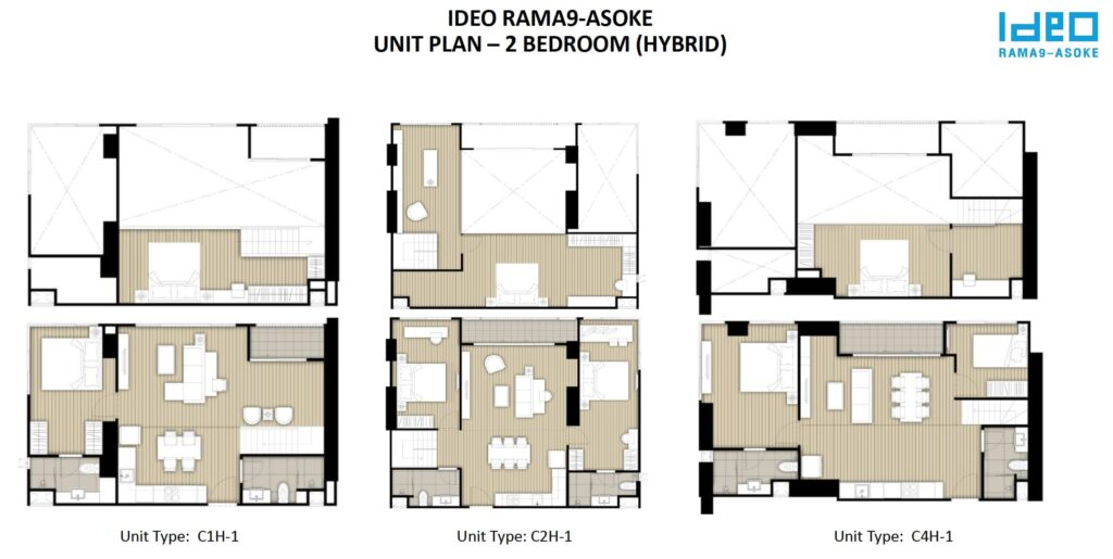 Ideo Rama 9 -Asoke Floor Plan 2BR Hybrid
