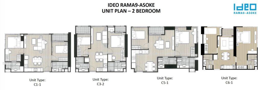 Ideo Rama 9 -Asoke Floor Plan 2BR all