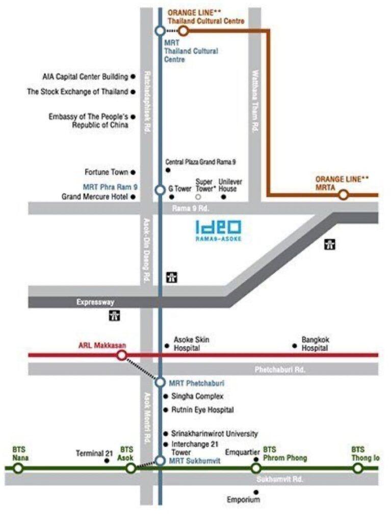 Ideo Rama 9 -Asoke location map