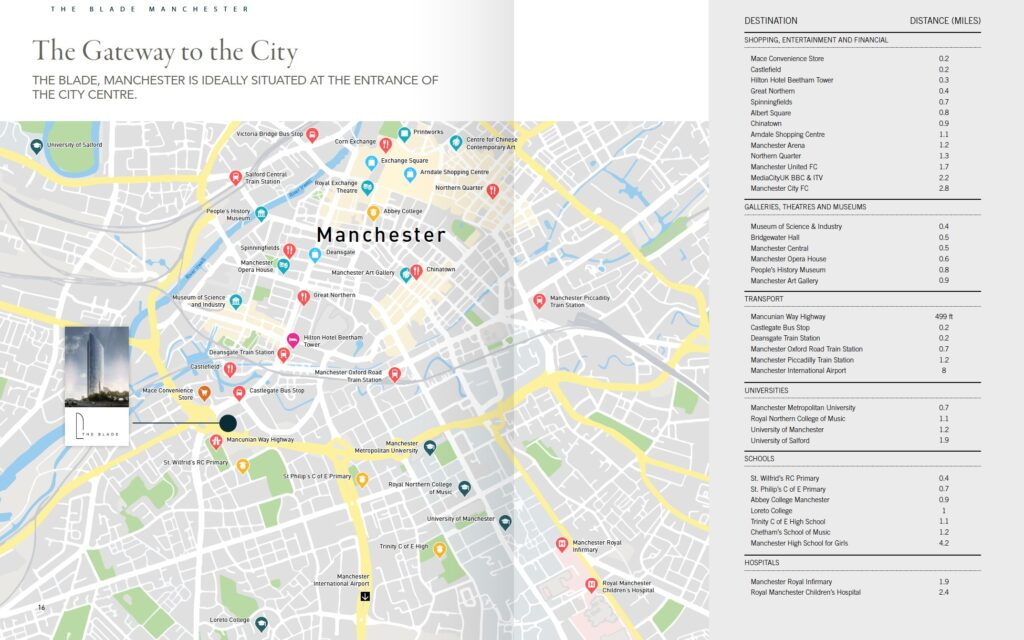 The Blade Manchester location map
