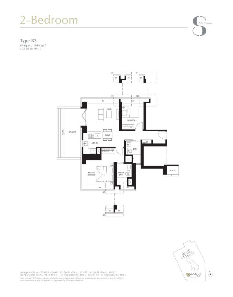 8 st thomas floor plan 2BR type B3
