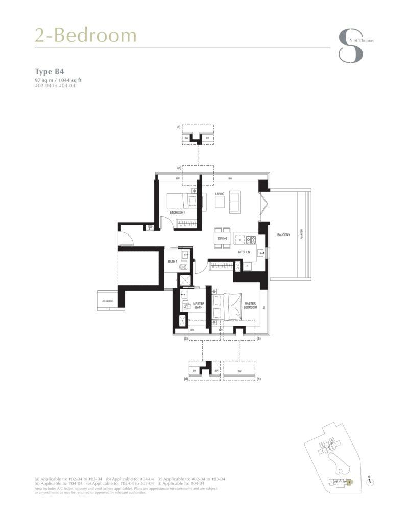 8 st thomas floor plan 2BR type B4