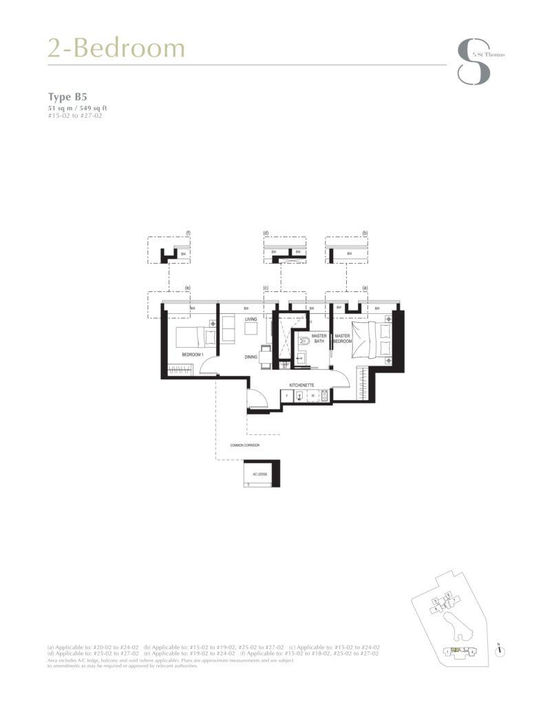8 st thomas floor plan 2BR type B5