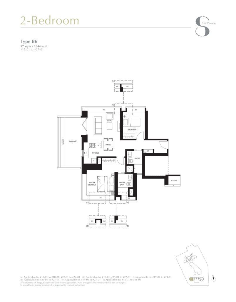 8 st thomas floor plan 2BR type B6