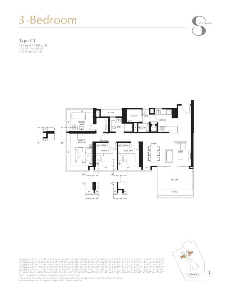 8 st thomas floor plan 3BR type C1