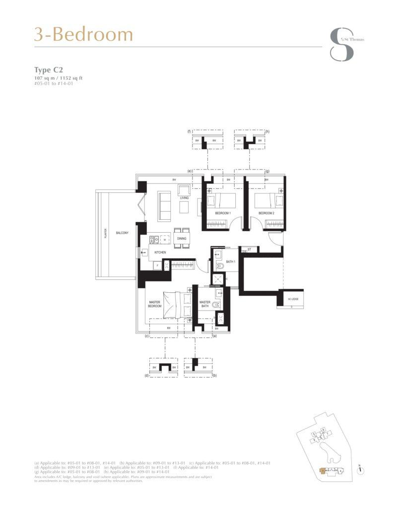 8 st thomas floor plan 3BR type C2