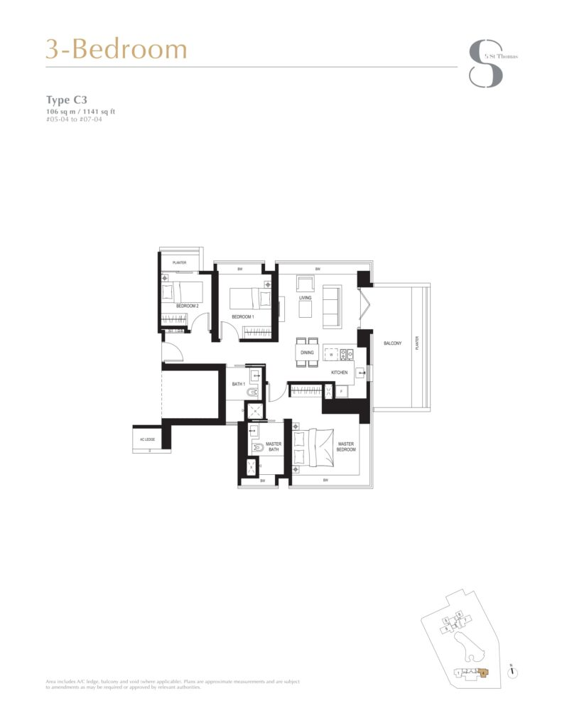 8 st thomas floor plan 3BR type C3