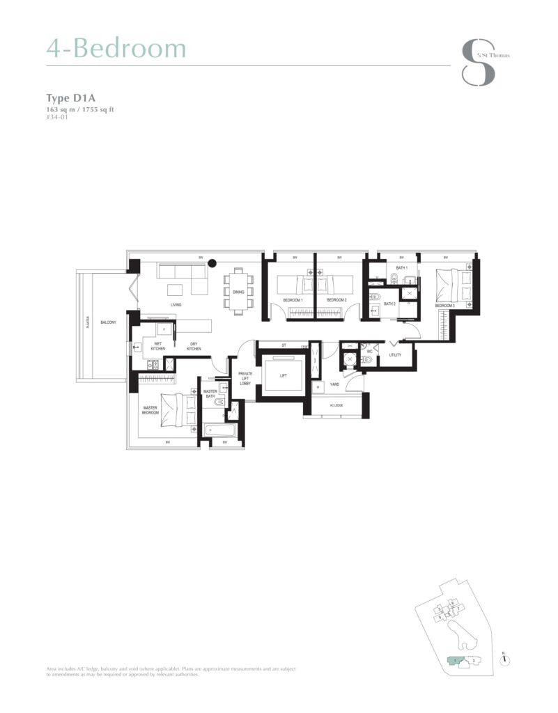 8 st thomas floor plan 4BR type D1A