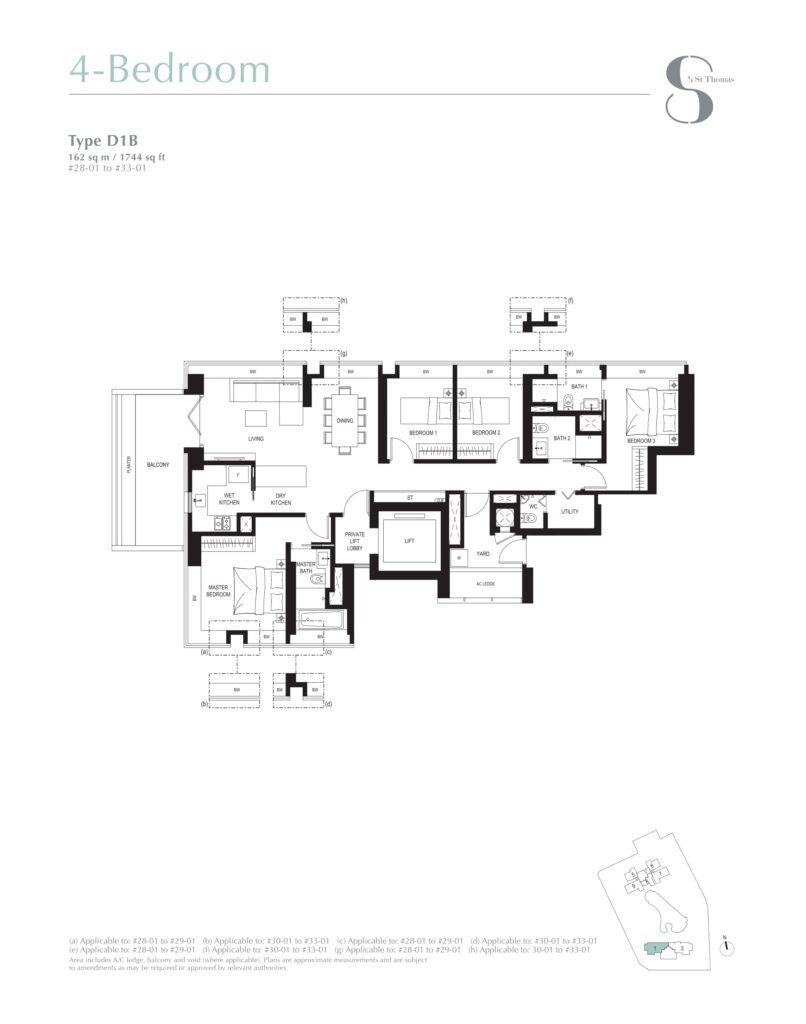 8 st thomas floor plan 4BR type D1B