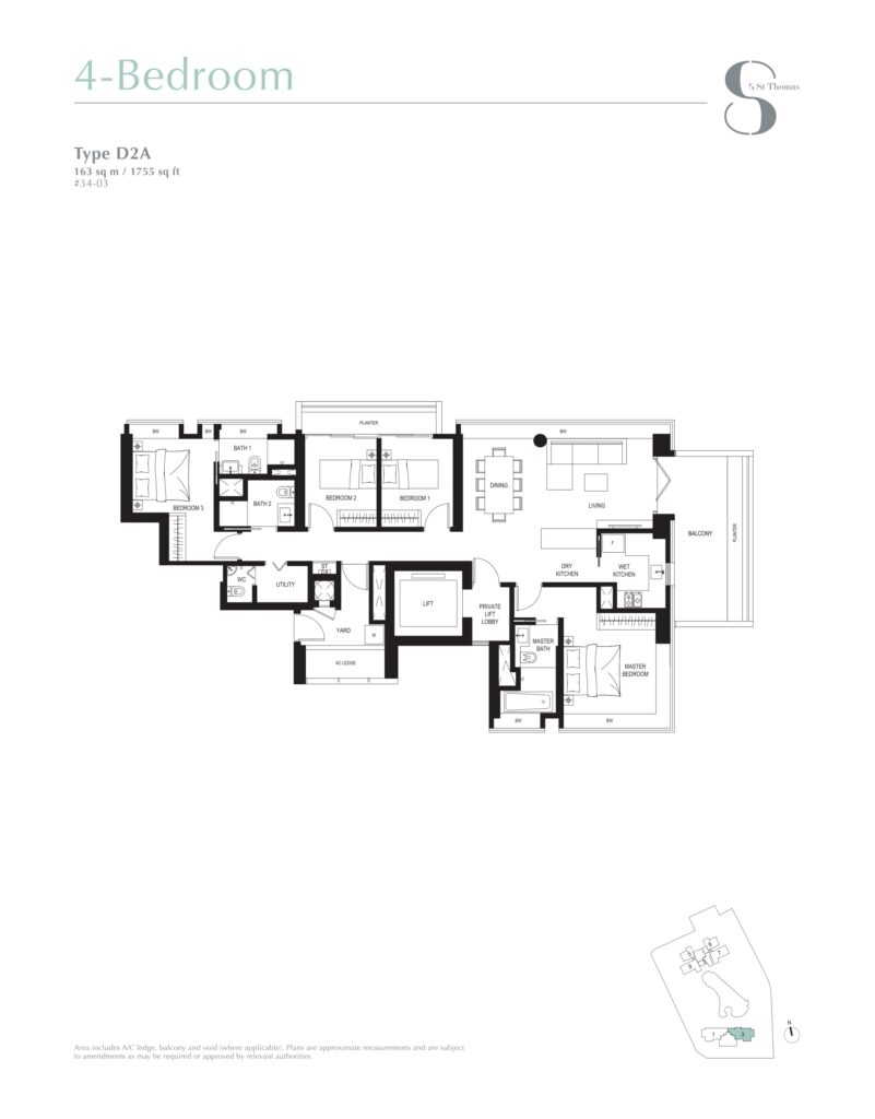 8 st thomas floor plan 4BR type D2A
