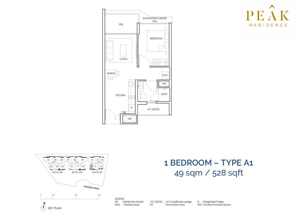 Peak-Residence-Novena-Floor-Plan-1BR-Type-A1