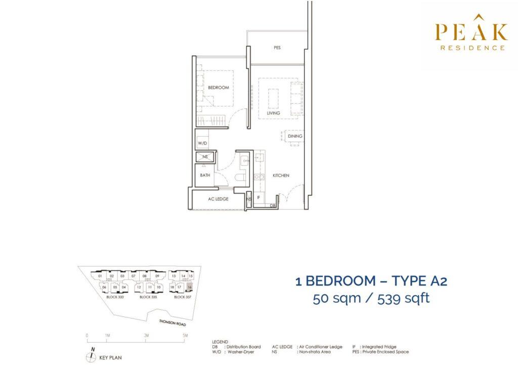 Peak-Residence-Novena-Floor-Plan-1BR-Type-A2