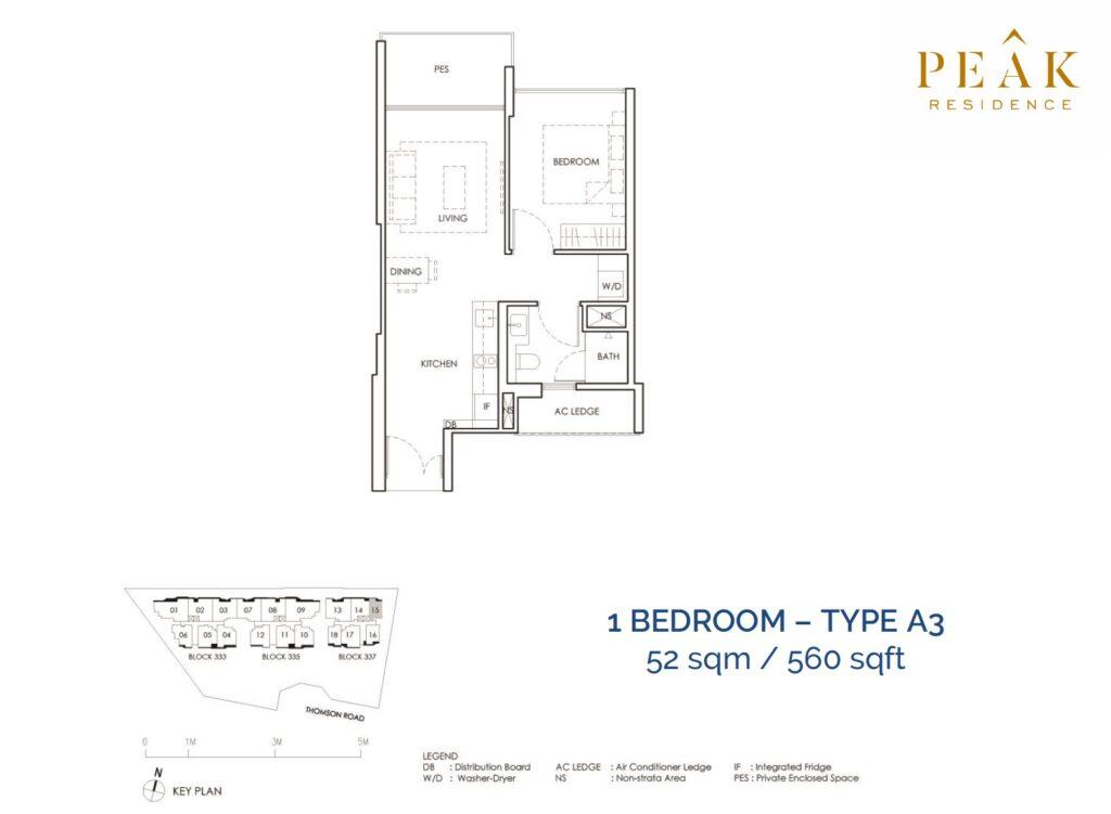 Peak-Residence-Novena-Floor-Plan-1BR-Type-A3