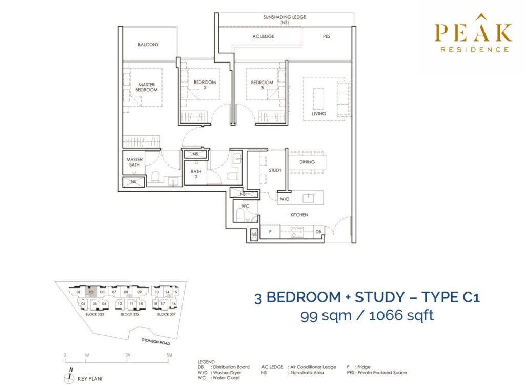 Peak-Residence-Novena-Floor-Plan-3BR-Type-C1