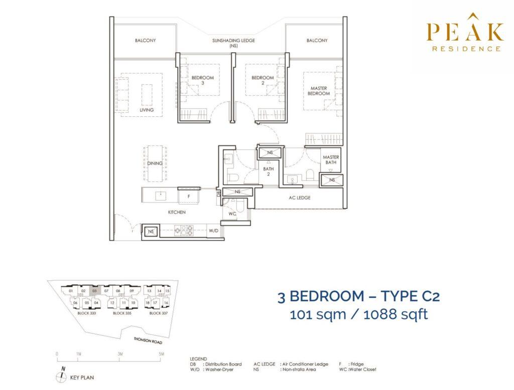 Peak-Residence-Novena-Floor-Plan-3BR-Type-C2