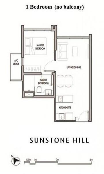 Sunstone Hill floor plan 1BR no balcony