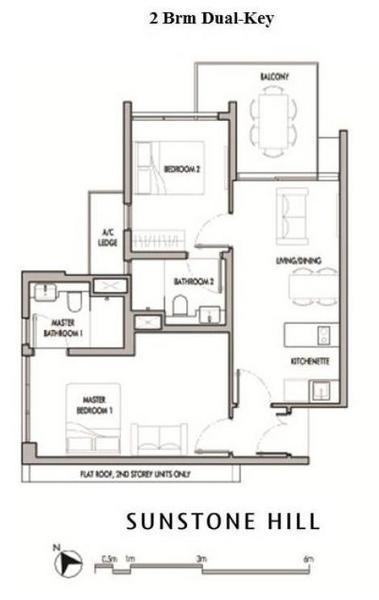 Sunstone Hill floor plan 2br dual keys