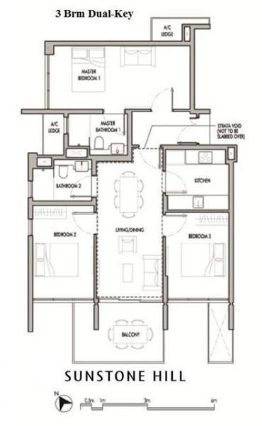 Sunstone Hill floor plan 3br dual keys